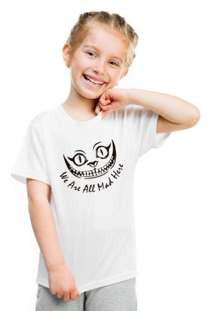 camiseta blanca de niña we are all mad here