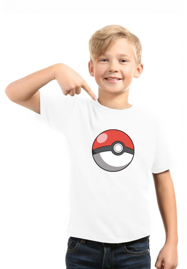 camiseta blanca niño pokeball