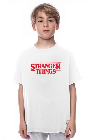 camiseta blanca de niño stranger things