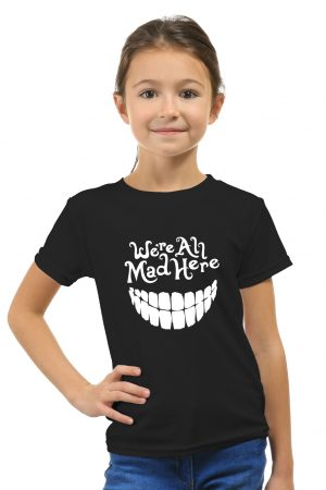 camiseta negra de niña we are all mad here