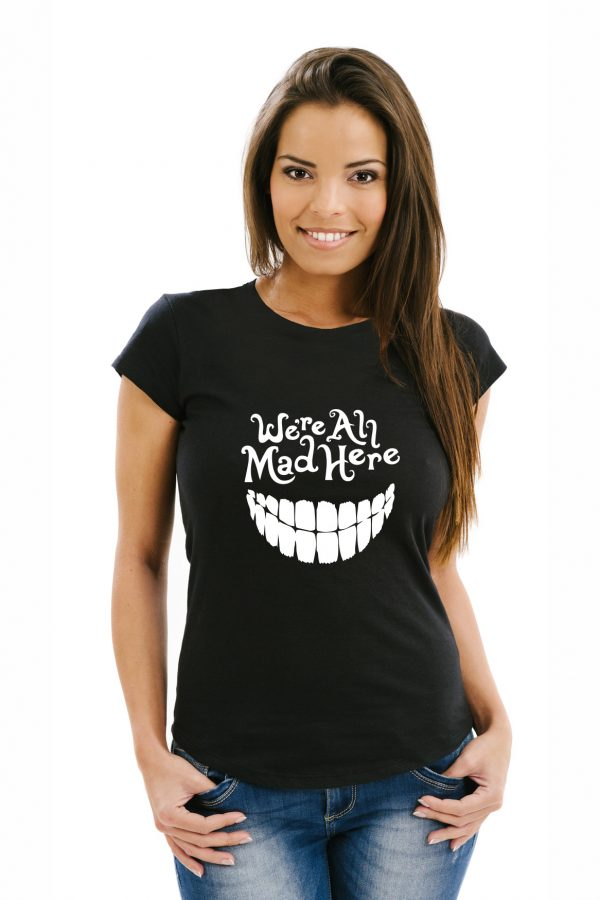 camiseta negra de mujer we are all mad here