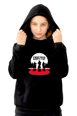sudadera capucha negra de niña friends dont lie